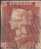 1841 1d Red SG8 Plate 52 'PI'